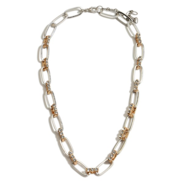 "Short Metal Chain Necklace Featuring Two-Tone Accents and Rhinestone Details.   - Approximately 18"" Long  - Adjustable 3"" Extender"