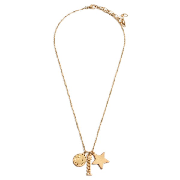 """Short Gold Chain Necklace Featuring Star and Smiley Face Accents and Pendant That Says """"Blessed"""".   - Approximately 18"""" Long"""