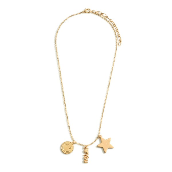 """Short Gold Chain Necklace Featuring Star and Smiley Face Accents and Pendant That Says """"I Love You"""".   - Approximately 18"""" Long"""