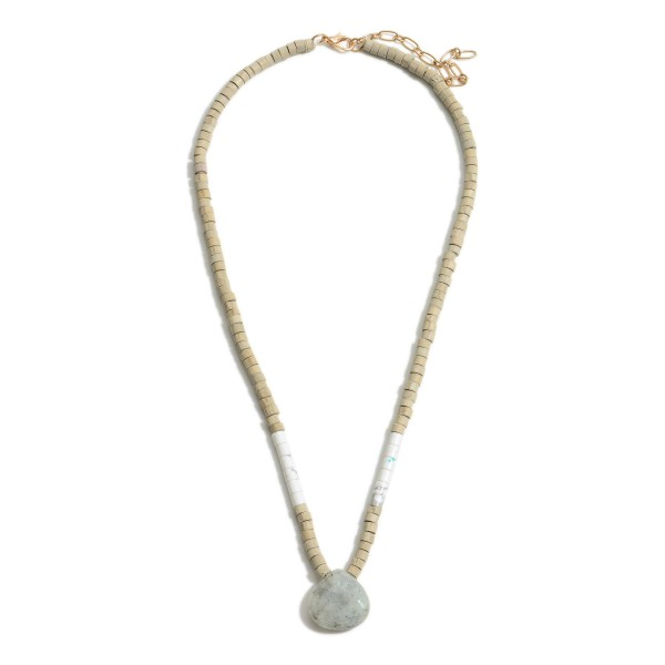 """Short Beaded Necklace Featuring Natural Stone Pendant and Accents.   - Approximately 18"""" Long"""