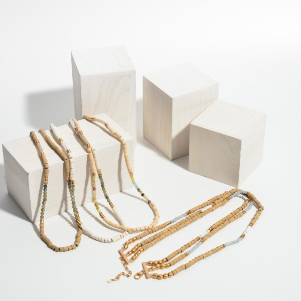 """Triple Strand Necklace Featuring Wood Beads and Gold Accents.   - Approximately 18"""" Long"""