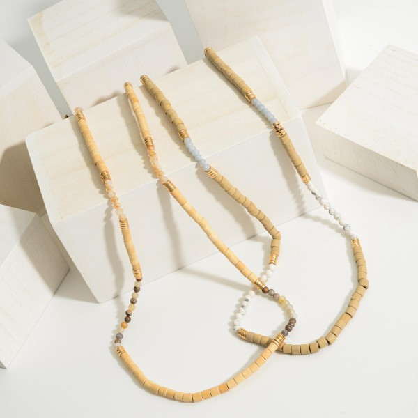 "Long Beaded Necklace Featuring Wood Accents and Natural Stone Details.   - Approximately 36"" Long"