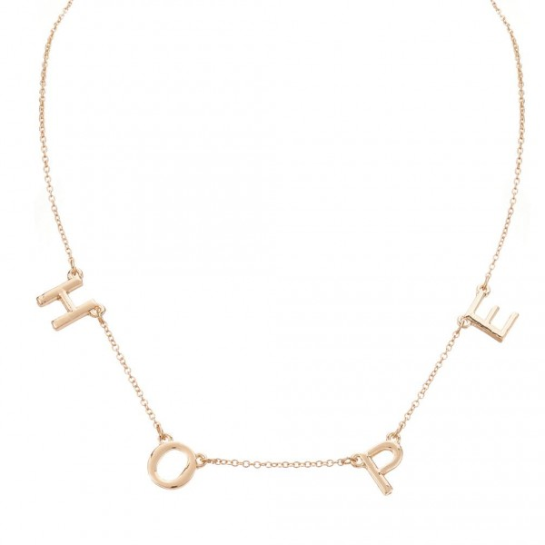 "Gold Necklace Featuring Letter Pendants that Spell ""Hope"".   - Measures Approximately 16"" in Length  - Adjustable Extender Measures Approximately 3"" in Length"