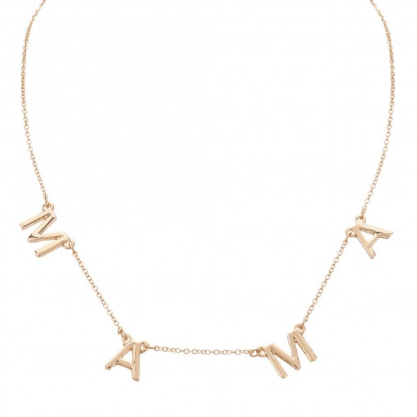 """Gold Necklace Featuring Letter Pendants that Spell """"Mama"""".   - Measures Approximately 16"""" in Length  - Adjustable Extender Measures Approximately 3"""" in Length"""