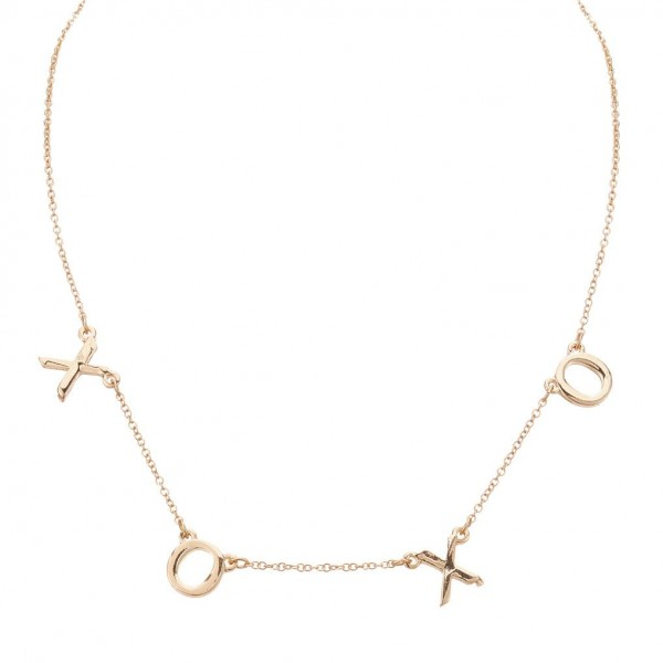 "Gold Necklace Featuring Letter Pendants that Spell ""XOXO"".   - Measures Approximately 16"" in Length  - Adjustable Extender Measures Approximately 3"" in Length"