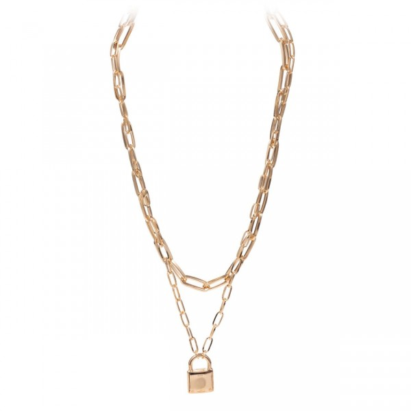 Double Layered Chain Necklace Featuring a Lock Pendant.
