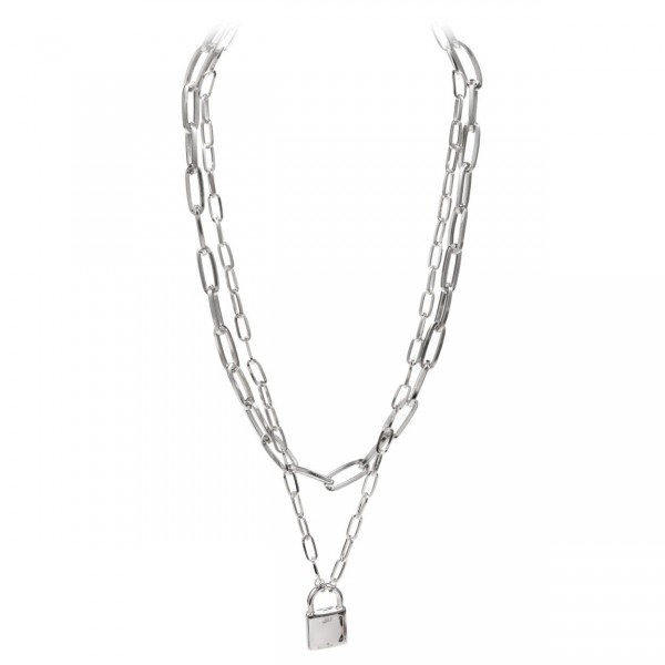"Double Layered Chain Necklace Featuring a Lock Pendant.   - Approximately 18"" in Length  - 3"" Adjustable Extender"