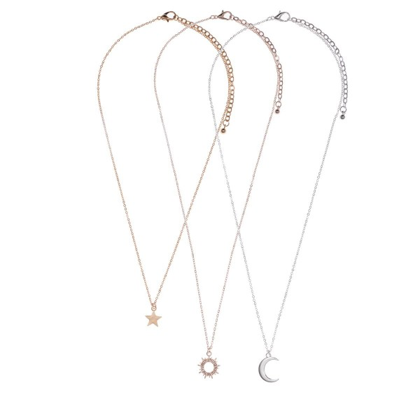 "Set of Three Celestial Pendant Necklaces.   - Necklaces Measure Approximately 16"", 18"", and 18""."