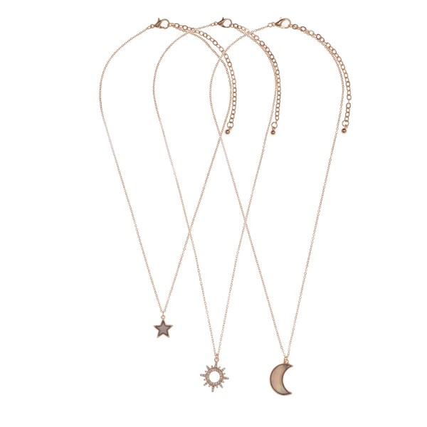 "Set of Three Celestial Pendant Necklaces with Natural Stone Inspired Accents.   - Necklaces Measure Approximately 16"", 18"", and 18""."