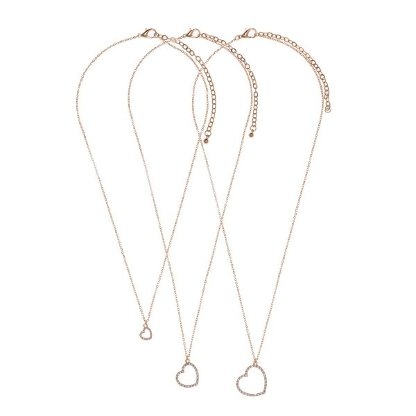 "Set of Three Heart Pendant Necklaces.   - Necklace with the Smallest Pendant Measures 16"" in Length  - Necklaces with the Larger Two Pendants Measure 18"" in Length"