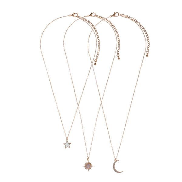 "Set of Three Celestial Pendant Necklaces with Semi Precious Natural Stone Accents.   - Necklaces Measure Approximately 16"", 18"", and 18""."