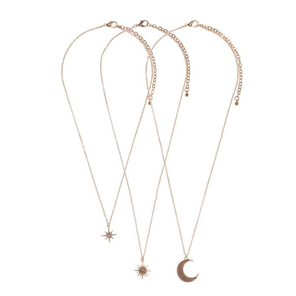 "Set of Three Celestial Pendant Necklaces Featuring Semi Precious Natural Stones & Druzy.   - Necklaces Measure Approximately 16"", 18"", and 18""."