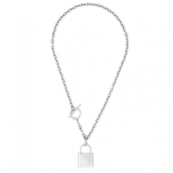 "Short Metal Chain Necklace Featuring Toggle Clasp and Locket Pendant.   - Approximately 20"" Long"