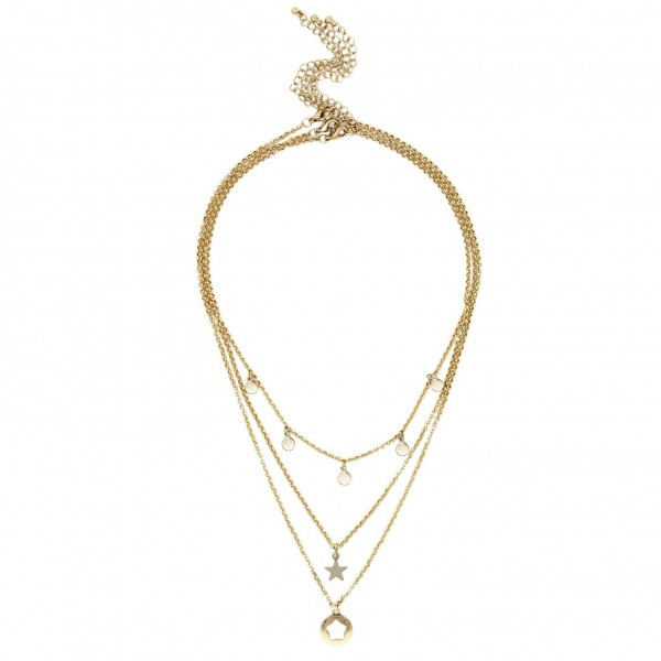 """Set of Three Short Metal Necklaces Featuring Gold Details and Star Pendants.   - Shortest Necklace Featuring Circular Gold Accents Approximately 16"""" Long - Middle Necklace Features Colored Star Pendant, Approximately 18"""" Long - Longest Necklace Featuring Metal Star Pendant Approximately 20"""" Long"""