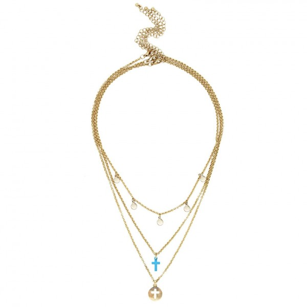 """Set of Three Short Metal Necklaces Featuring Gold Details and Cross Pendants.   - Shortest Necklace Featuring Circular Gold Accents Approximately 16"""" Long - Middle Necklace Features Colored Cross Pendant, Approximately 18"""" Long - Longest Necklace Featuring Metal Cross Pendant Approximately 20"""" Long"""