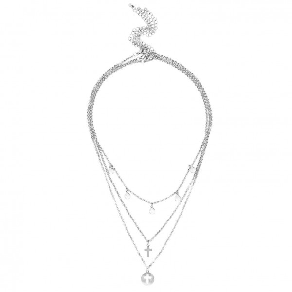 """Set of Three Short Metal Necklaces Featuring Silver Details and Cross Pendants.   - Shortest Necklace Featuring Circular Silver Accents Approximately 16"""" Long - Middle Necklace Features Grey Cross Pendant, Approximately 18"""" Long - Longest Necklace Featuring Metal Cross Pendant Approximately 20"""" Long"""