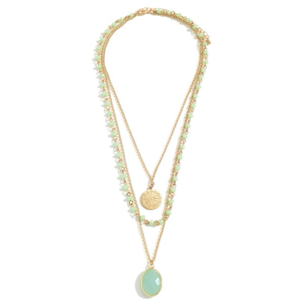 """Gold Layered Necklace Featuring Beaded Details and Pendant Accents.   - Approximately 20"""" Long"""