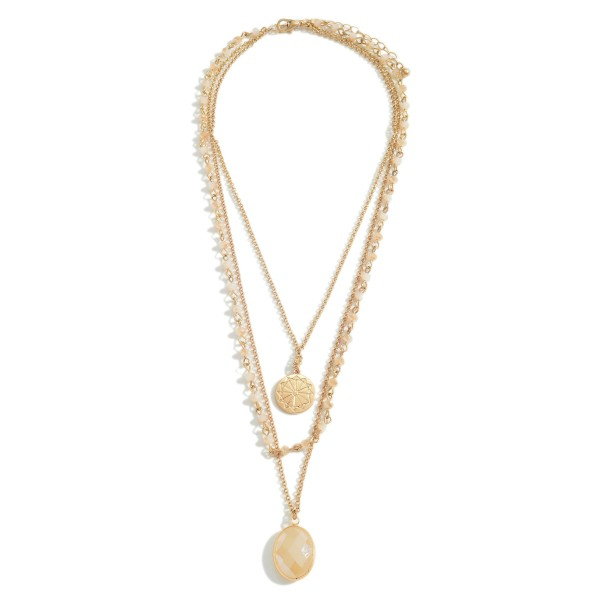 "Gold Layered Necklace Featuring Beaded Details and Pendant Accents.   - Approximately 20"" Long"