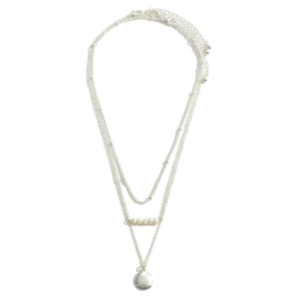 Wholesale set Three Silver Necklaces Faux Pearl Accents Short Silver Necklace Lo