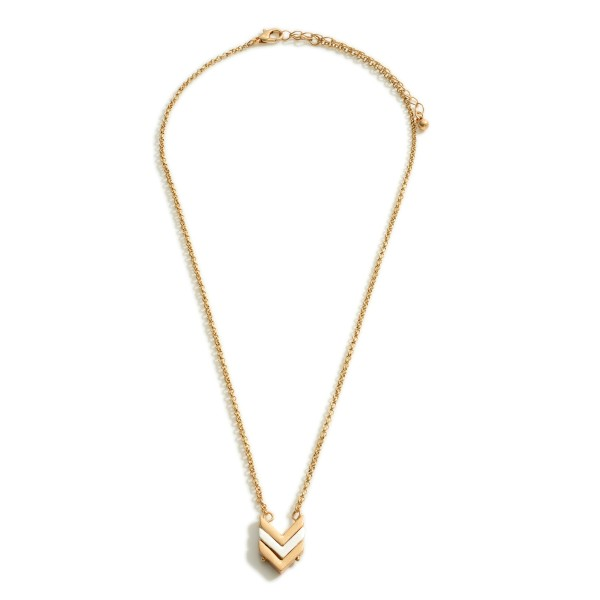 "Short Metal Necklace Featuring Chevron-Shaped Pendant.   - Approximately 18"" Long"