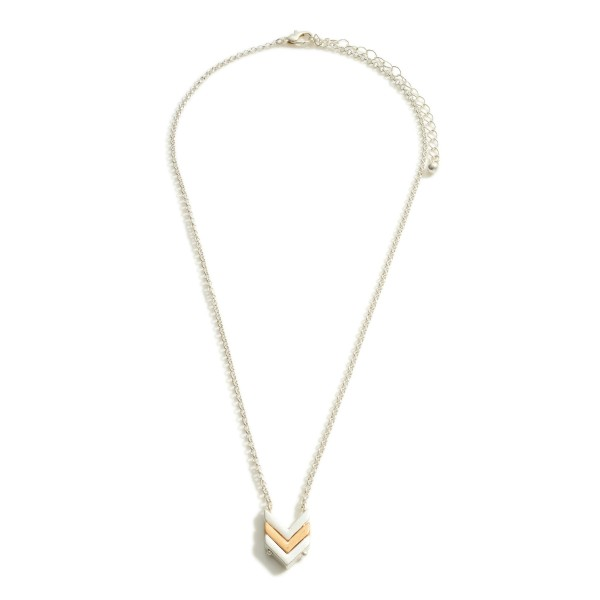 """Short Metal Necklace Featuring Chevron-Shaped Pendant.   - Approximately 18"""" Long"""