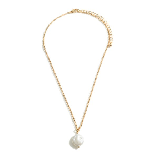 "Metal Chain Necklace Featuring Faux Pearl Pendant.   - Approximately 18"" Long - Adjustable 3"" Extender"