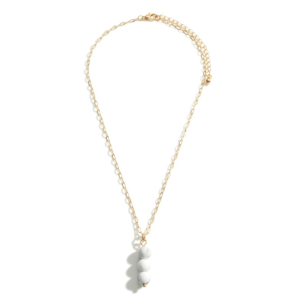 "Gold Metal Chain Necklace Featuring Natural Stone Pendant.   - Approximately 18"" Long - Adjustable Extender 3"""