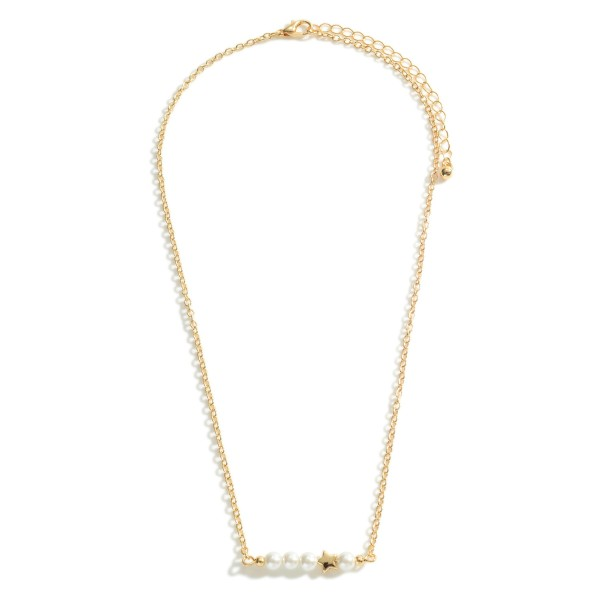 """Short Metal Necklace Featuring Faux Pearl Accents and Star Detail.   - Approximately 18"""" Long - Adjustable Extender 3"""" Long"""