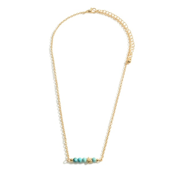 """Short Metal Necklace Featuring Natural Stone Accents and Star Detail.   - Approximately 18"""" Long - Adjustable Extender 3"""" Long"""