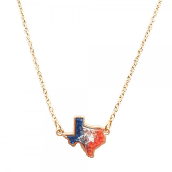 "Short Necklace Featuring Druzy Texas Pendant.   - Approximately 18"" Long"