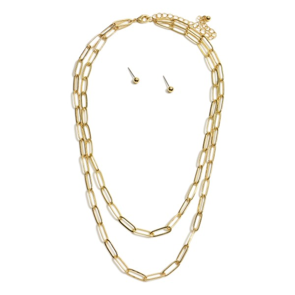 "Double Stranded Gold Chain Link Necklace.   - Approximately 18"" in Length  - Adjustable 3"" Extender"