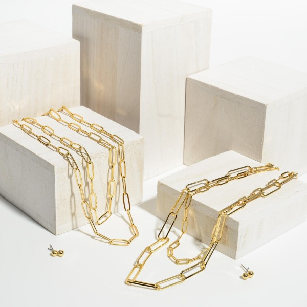 """Double Stranded Gold Chain Link Necklace.   - Approximately 18"""" in Length  - Adjustable 3"""" Extender"""