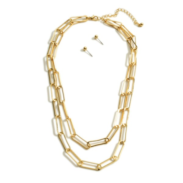 "Layered Chain Link Necklace.   - Approximately 18"" Long"