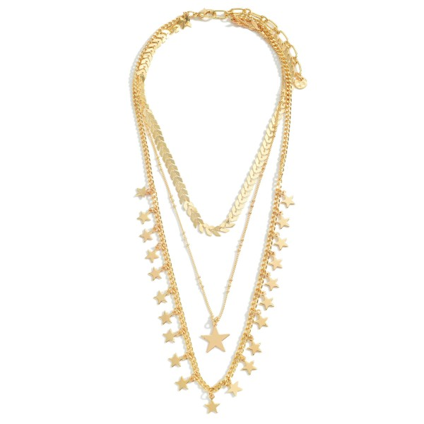 "Layered Metal Chain Necklace Featuring Star Accents.   - Approximately 24"" in Length  - Adjustable 3"" Extender"
