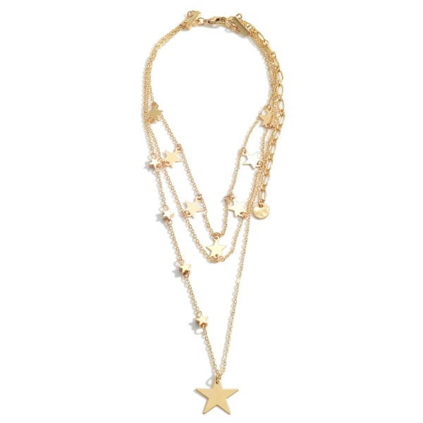 """Layered Metal Necklace Featuring Star Accents.   - Approximately 18"""" in Length  - Adjustable 3"""" Extender"""