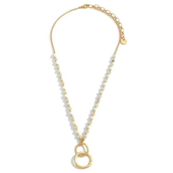 """Short Beaded Necklace Featuring Hammered Gold Pendant.   - Approximately 18"""" in Length  - Adjustable 3"""" Extender"""