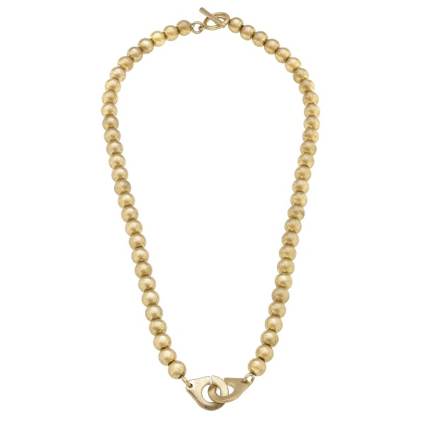 "Gold Beaded Necklace Featuring Interlocking Metal Accent.   - Approximately 18"" in Length"