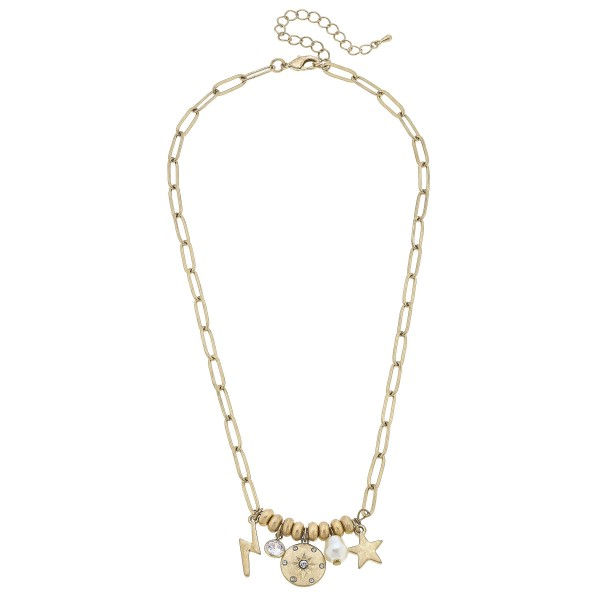"Short Chain Link Necklace Featuring Beaded Details with Star, Lightning Bolt, and Faux Pearl Pendant Accents.   - Approximately 18"" Long"