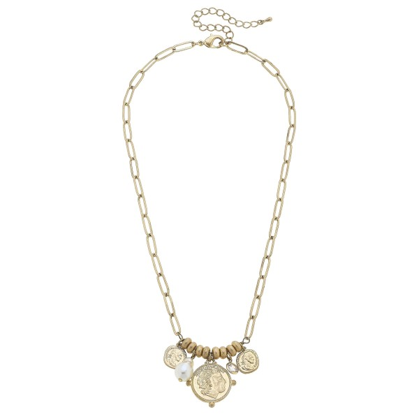 "Short Chain Link Necklace Featuring Beaded Details and Coin and Faux Pearl Pendant Accents.   - Approximately 18"" Long"