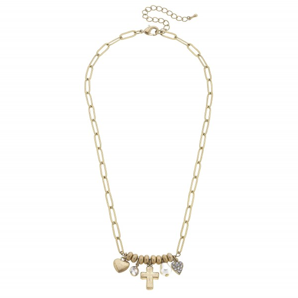 """Short Chain Link Necklace Featuring Beaded Details with Cross, Heart, and Faux Pearl Pendant Accents.   - Approximately 18"""" Long"""