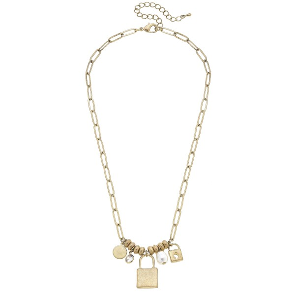 "Short Chain Link Necklace Featuring Beaded Details with Locket and Faux Pearl Pendant Accents.   - Approximately 18"" Long"