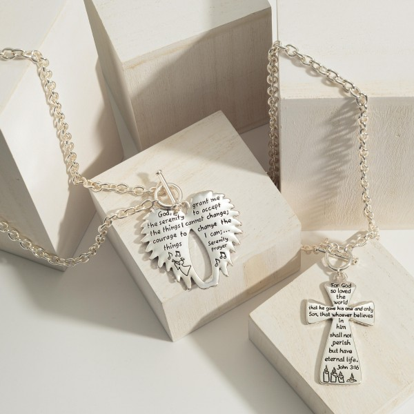 """Silver Chain Necklace Featuring Toggle Closure and Cross Pendant That Has Bible Verse John 3:16 on the Back.   - Approximately 18"""" Long"""