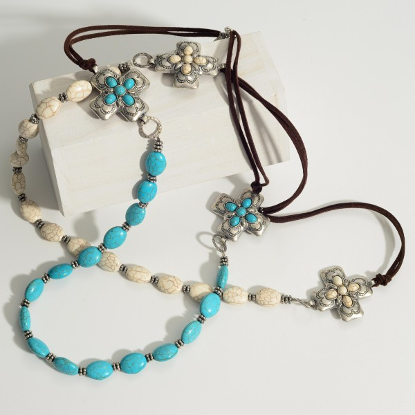 """Western Natural Stone Necklace Featuring Silver Details and Leather Accents.   - Approximately 33"""" L  - Adjustable 3"""" Extender"""