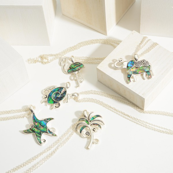 """Short Silver Necklace Featuring Elephant Pendant and Abalone Accents.   - Approximately 18"""" Long"""