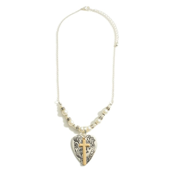 """Short Silver Necklace Featuring Faux Pearl Details, Cross Pendant. and Engraved Heart Pendant that Says """"Love"""".   - Approximately 18"""" Long"""