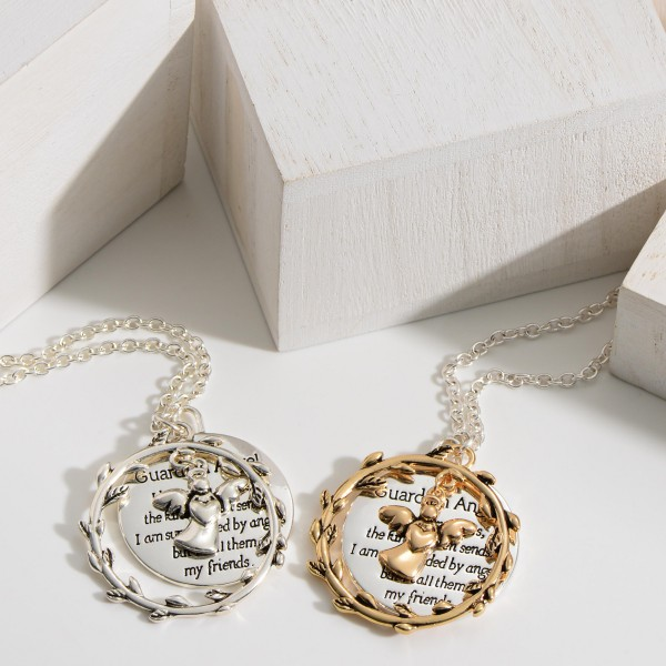 """Silver Necklace Featuring Angel Accent and Pendant that Says"""" Guardian Angel: I believe in angels, the kind Heaven sends. I am surrounded by angels but I call them my friends""""."""