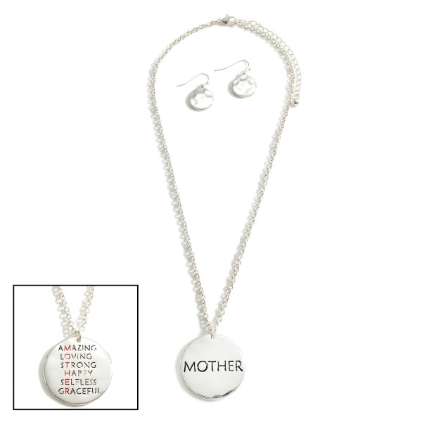 """Silver Chain Necklace Featuring Pendant That Says """"Mother"""".   - Approximately 18"""" Long - Adjustable 3"""" Extender"""