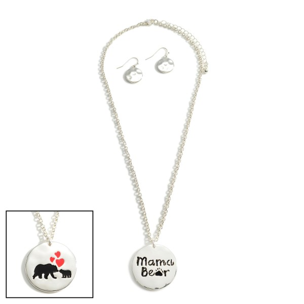 """Silver Chain Necklace Featuring Pendant """"Mama Bear"""".   - Approximately 18""""  - Adjustable 3"""" Extender"""