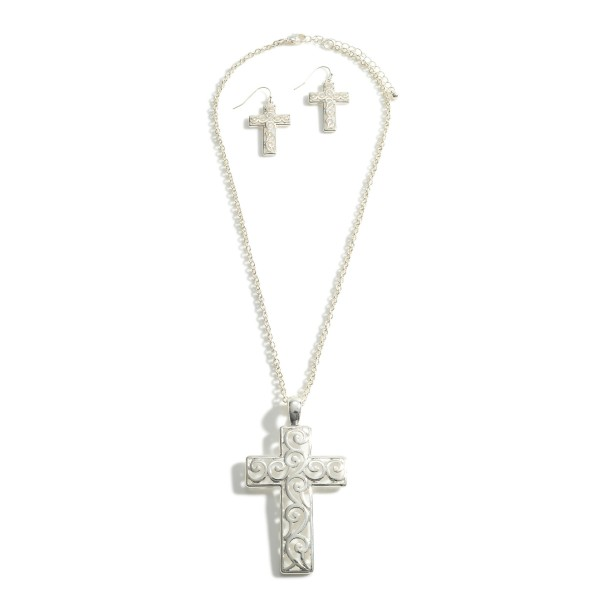 """Silver Chain Necklace Featuring Filigree Cross Pendant.   - Approximately 18"""" Long - Adjustable 3"""" Extender - Each Necklace Comes With Matching Filigree Cross Earrings"""