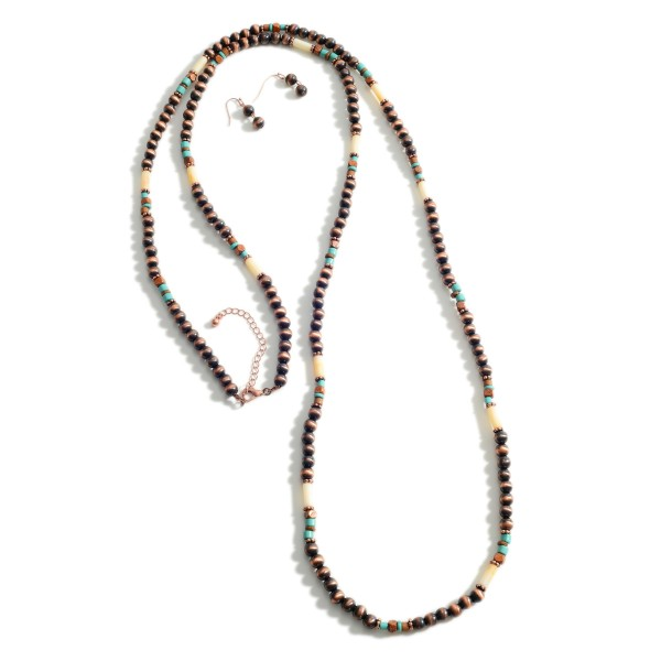 "Long Beaded Necklace Featuring Turquoise Accents.   - Approximately 60"" Long - Adjustable 3"" Extender"